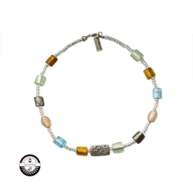 Necklace with yellow, green, blue, light pink, grey and  transparent glassbeads