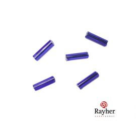 Donkerblauwe glasstift 7/2 mm met zilverkern