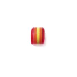 Rode polyester kraal met geel en oranje