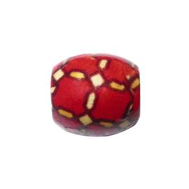 Houten kraal, rood met motief
