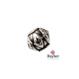 Zilverkleurige metalen kraal met reliëf