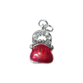 Bag Charm made of metal with red