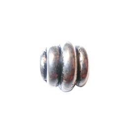 Metaalkleurige kraal met grote opening