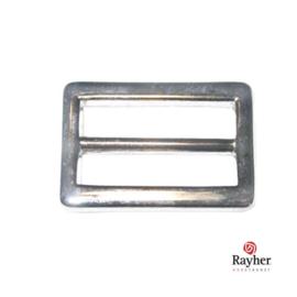 Zilverkleurige lengte-versteller voor tasriem van 2,5 cm