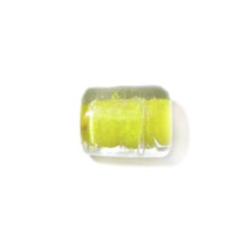 Langwerpige , gele glas kraal