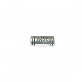 Oblong metal coloured bead