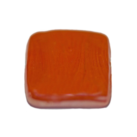 Flat, suare red glass bead