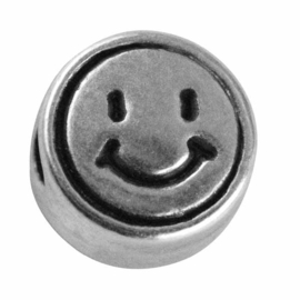 "Silver colored metal letter bead ""Smiley"" from Rayher"