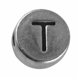 "Silver colored metal letter bead ""T"" from Rayher"