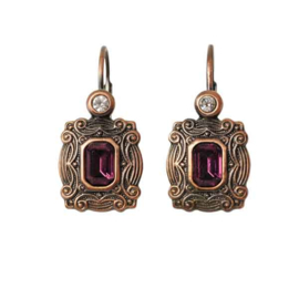 Copper colored Earrings with purple bead