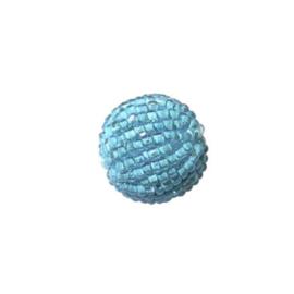 Kleine turquoise lustré Rocaille bol van glaskraaltjes