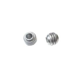 Kleine metalen kraal met ribbels