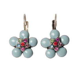 Earrings with blue and coloured  stones, in flower form