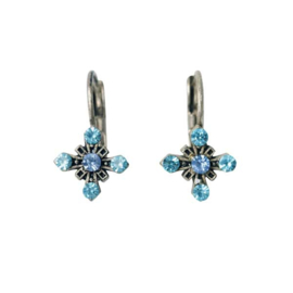 Earrings with blue stones in cross form
