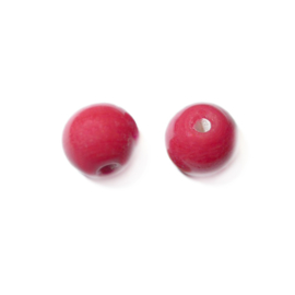 Red, round glass bead