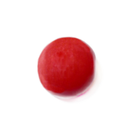 Red, round glass bead, luster