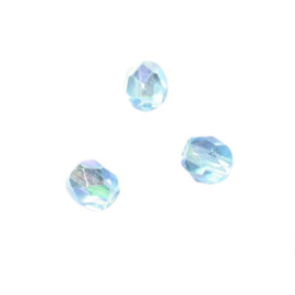 Turquoise glazen facetkraal 6 mm