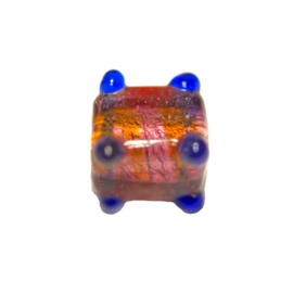 Red with blue square glass bead