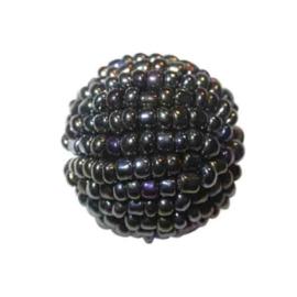 Grote zwarte lustré Rocaille bol van glaskraaltjes