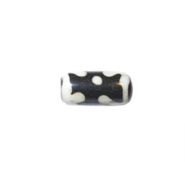 Blackbrown/white bone bead