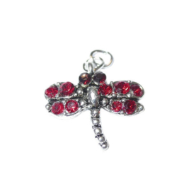 Butterfly Charm made of metal with red rhinestones
