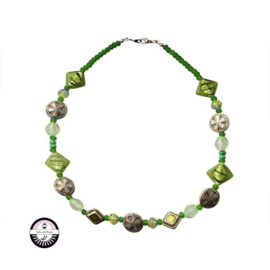 Necklace with green glass beads