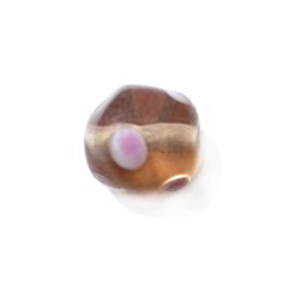 Zalmroze glaskraal met heel lichtroze stippen