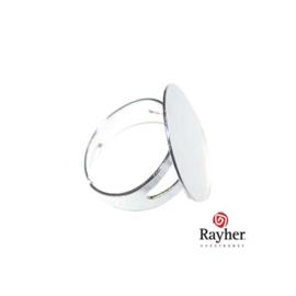 Zilverkleurige ring met plaatje van 20 mm
