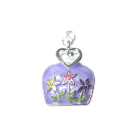 Bag Charm made of metal with purple and colorful flowers