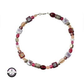 Necklace with red, pink, light pink and transparent glass beads