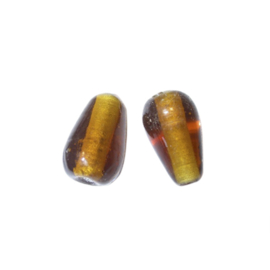 Bruin gele druppelvormige glaskraal