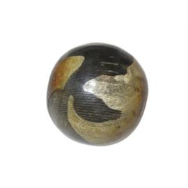 Grote ronde benen kraal met beige en zwarte versiering