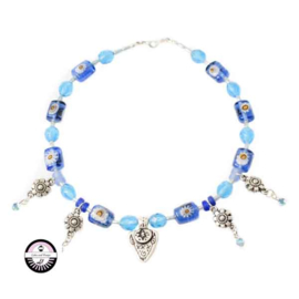 Necklace made with several different blue beads