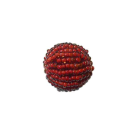 Small red luster Rocaille ball  made of glass beads