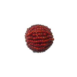 Kleine rode lustré Rocaille bol van glaskraaltjes