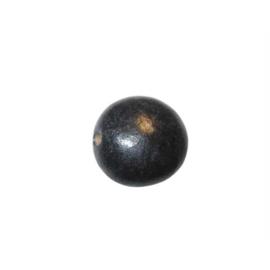 Zwarte, wat plattere kraal van keramiek