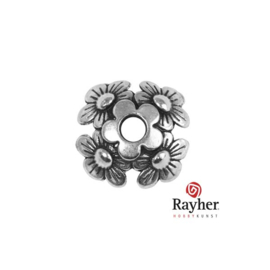 Silver colored metal deco element (beadcap) Flower