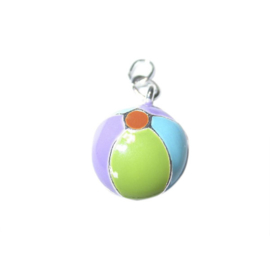 Beachball made of metal with summer colors like green, blue, purple and orange