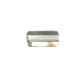 Doorzichtige cilindervormige glaskraal met bruine vlekjes