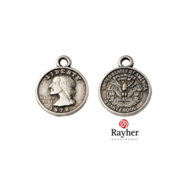 Silver colored metal charm American Coin