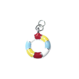 Float charm made of metal with yellow, white, red and blue