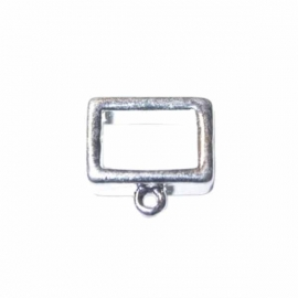 Square, metalcoloured bead