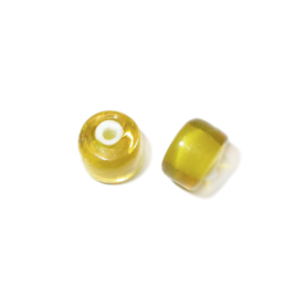 Gele, halfronde, doorzichtige glas kraal met witte binnenkant