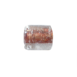 Doorzichtige glaskraal met oranjebruin binnenin