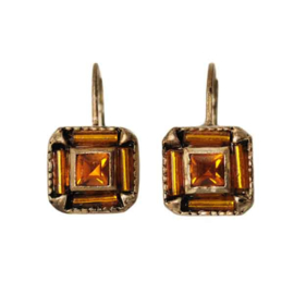 Square-shaped Earrings with yellow and orange beads