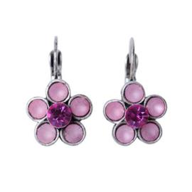 Flower-shaped Earrings with pink rhinestones