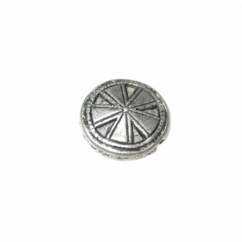 Metalcolored round bead, with decoration