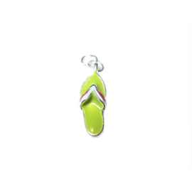 Flip flop charm made of metal with green