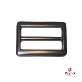 Zwarte lengte-versteller voor riem van 2,5 cm