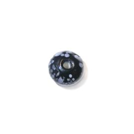 Zwarte, discusvormige glaskraal met witte stipjes